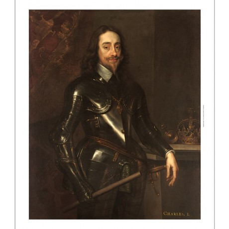 "AFTER VAN DYCK ""Portrait of King Charles I in Armour"" baton crown CANVAS PRINT"