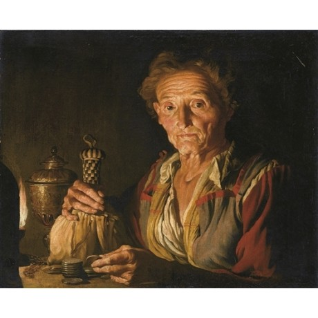 MATTHIAS STOMER Old Woman Counting Money coins on table NEW CANVAS PRINT giclee