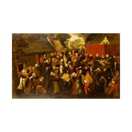 "MIN VAN CLEVE (CIRCLE OF ) ""A Village Wedding"" print various SIZES available"