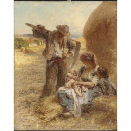 "LHERMITTE ""La Famille"" MOTHER baby father scythe girl haystack NEW CANVAS PRINT"