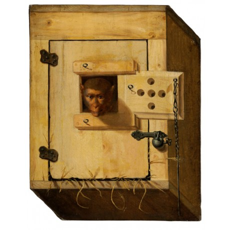 FRANZ VON ROSENHOF Trompe l'oeil of a capuchin monkey in his crate captive NEW