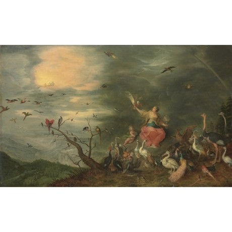 "BREUGHEL & FRANCKEN ""The Four Elements: Air"" BIRDS feathers chariot sky CANVAS"