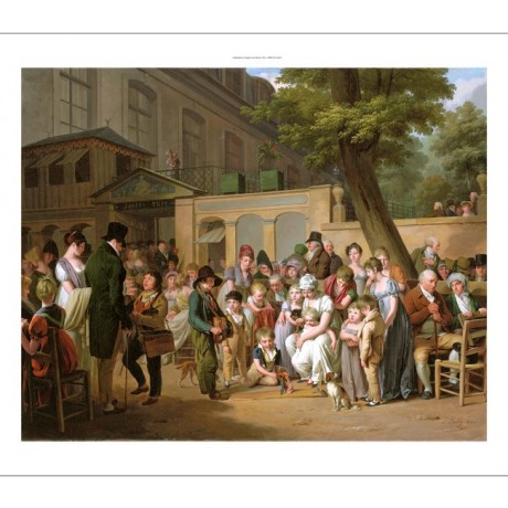 "LOUIS BOILLY ""Entrance to Turkish Garden Cafe"" ENTERTAINER music puppet CANVAS"