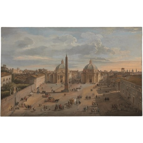 "GIOVANNI PANINI ""Piazza del Popolo, Rome"" OBELISK church santa maria NEW CANVAS"