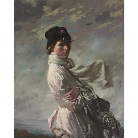 "WILLIAM ORPEN ""'In Dublin Bay': the Artist's Wife"" IRELAND hat shawl sky CANVAS"