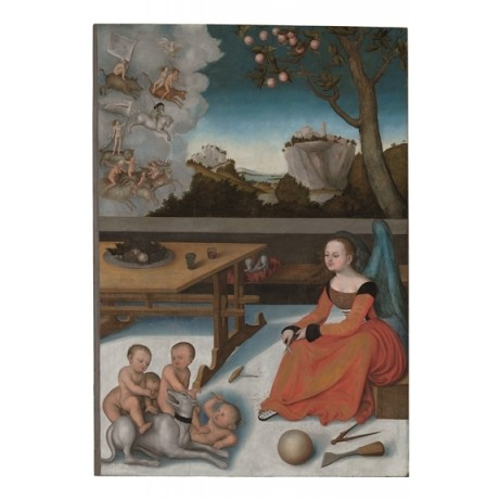 "After LUCAS CRANACH ""Melancholia"" MYTH mother children dog bare bodies CANVAS"