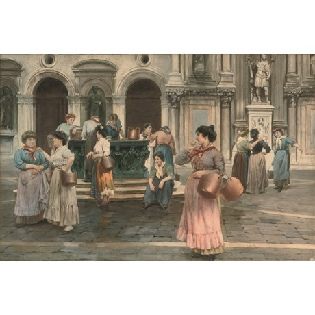 "ALBERTO PROSDOCIMI ""Gossips at the Well, Venice"" FRIENDS water-carriers CANVAS"