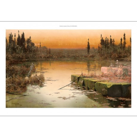 "ENRIQUE SERRA Y AUQUE ""Dawn on the Pontine Marshes"" SILENCE tranquil NEW CANVAS"
