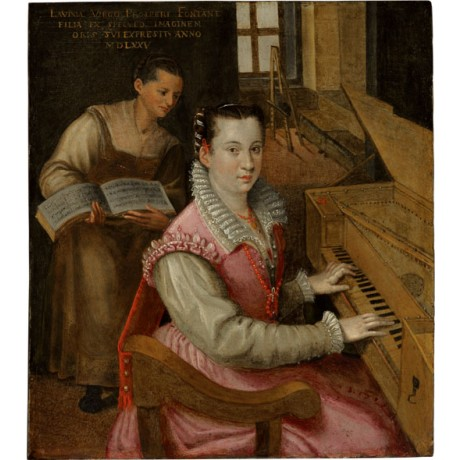LAVINIA FONTANA Self-portrait at the keyboard with a maidservant ART on CANVAS