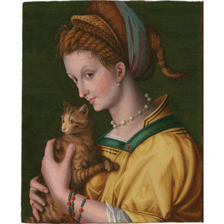 BACHIACCA Portrait of a young lady holding a cat COURTESAN in yellow dress NEW