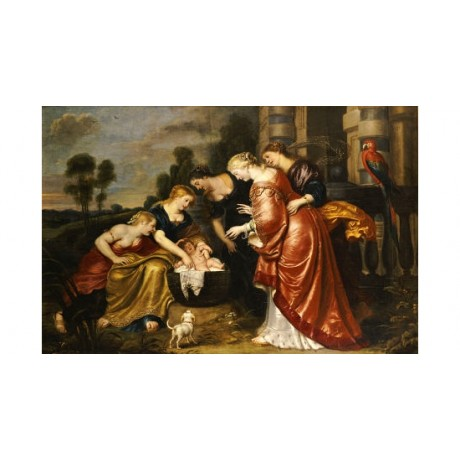 "CORNELIS DE VOS ""Finding Of Moses"" ON CANVAS choose SIZE, from 55cm upwards, NEW"