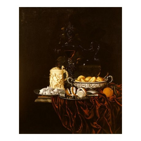"""JOHANN GEORG HINZ """"Pastry In A Silver Dish"""" print choose SIZE, from 55cm up, NEW"""