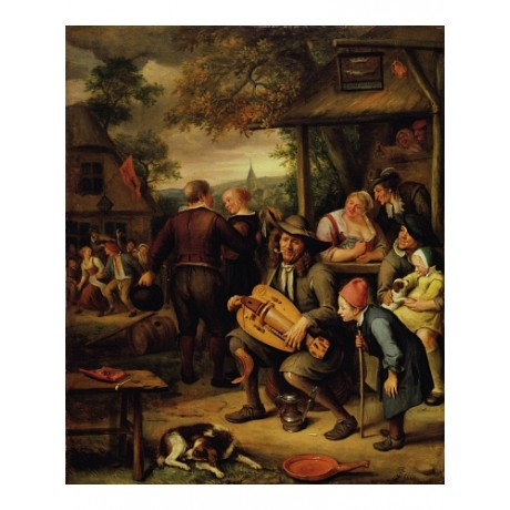 JAN STEEN Hurdy-Gurdy Player REVELRY pub dog golden age child NEW CANVAS PRINT