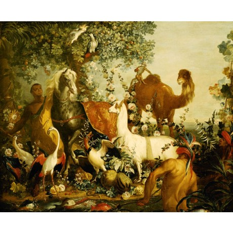 "DESPORTES ""An Allegory of Asia"" BARECHESTED men llama horse bird CANVAS PRINT"