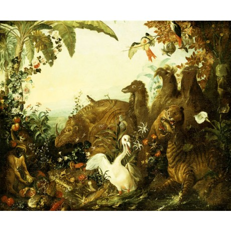 DESPORTES An Allegory of Africa MONKEY pelican tiger camel forest CANVAS PRINT