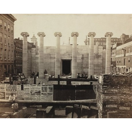 NEW CANVAS print of rare JOHN MORAN image Construction of Bank of Pennsylvania