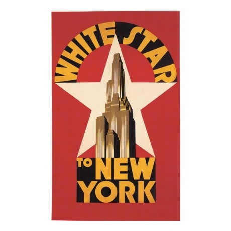 "NEW CANVAS PRINT ""White Star to New York"" OF VINTAGE poster EMPIRE STATE giclee"