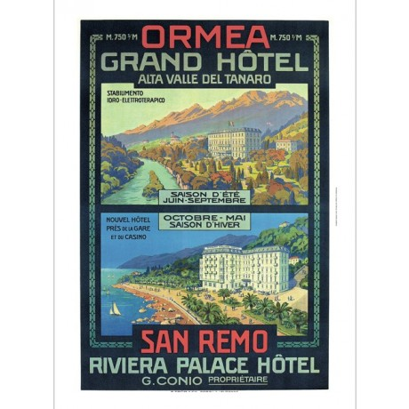 Ormea Grand Hotel, Rivieria Palace Hotel NEW CANVAS PRINT OF vintage poster