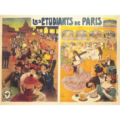 "CANDIDO DE FARIA ""Les Etudiants de Paris"" NEW CANVAS PRINT OF vintage poster"