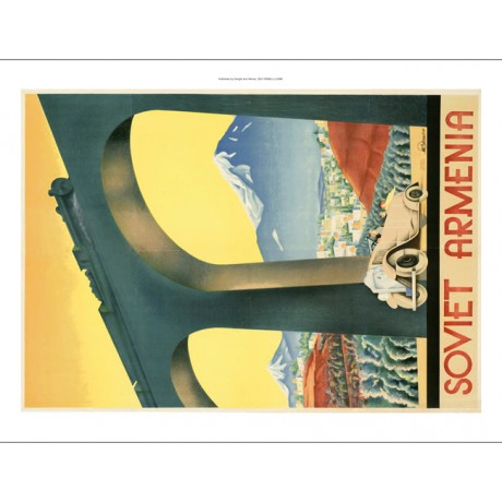 "STRIKING CANVAS of BOLD vintage poster ""Soviet Armenia"" train car arch bridge"