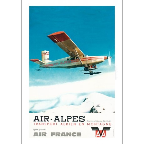 AIR-ALPES plane flying over ski mountains NEW CANVAS print of vintage poster