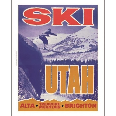 Ski UTAH Alta, Brighton Treasure Mountain new CANVAS print of vintage poster