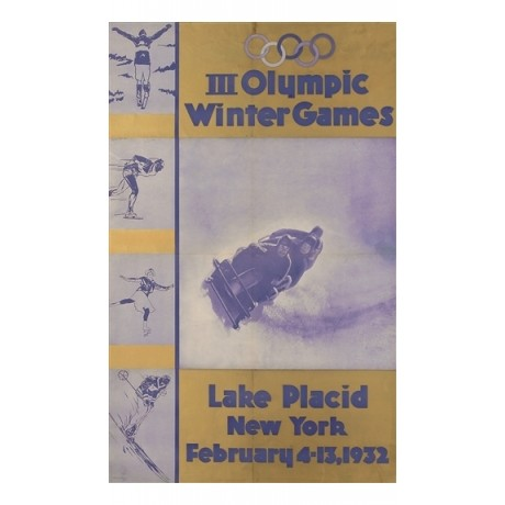 III Olympic Winter Games, Lake Placid BOB new york CANVAS print of old poster