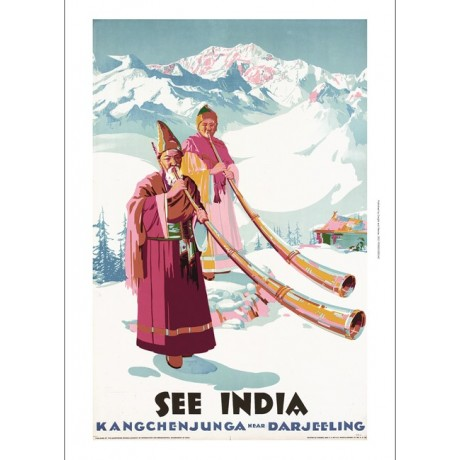 SEE INDIA - Kangchenjunga Darjeeling NEW CANVAS print of vintage travel poster