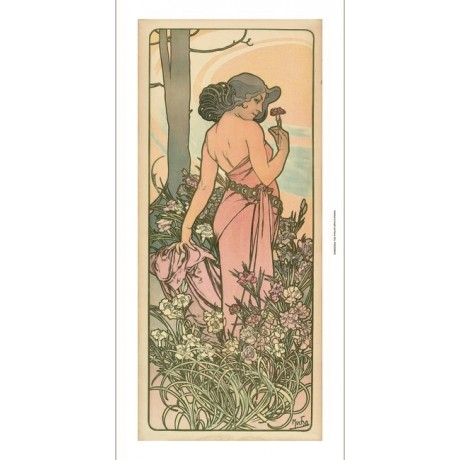"ALPHONSE MARIE MUCHA ""The Flowers I"" floral woman NEW! various SIZES, BRAND NEW"