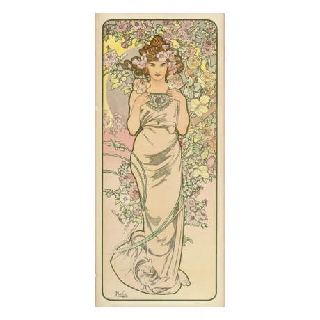 "ALPHONSE MARIE MUCHA ""The Flowers II"" woman nature NEW various SIZES, BRAND NEW"