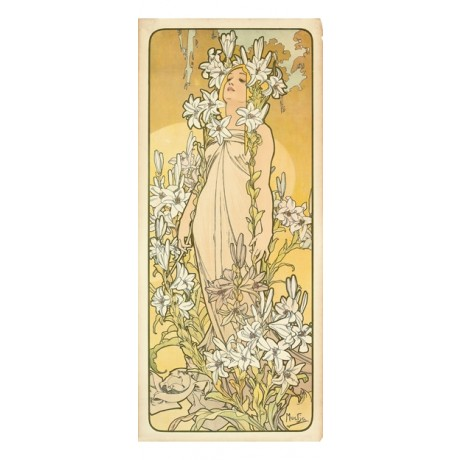 "ALPHONSE MARIE MUCHA ""The Flowers III"" woman floral NEW various SIZES, BRAND NEW"