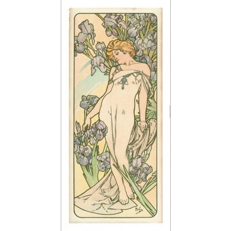 "ALPHONSE MARIE MUCHA ""The Flowers IV"" woman garden choose SIZE, from 55cm up"