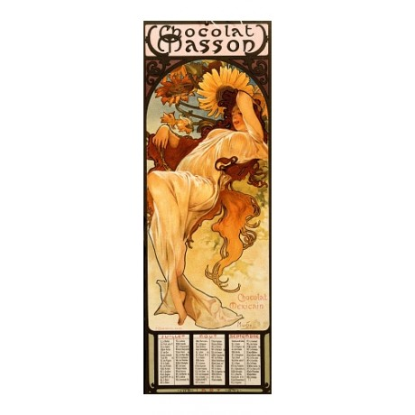 "MUCHA, ""CHOCOLAT Masson"" chocolate seasons NEW CANVAS print of vintage poster"