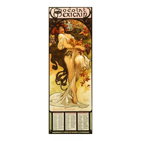 "MUCHA, ""Chocolat Masson"" spring fruit NEW CANVAS print of vintage poster giclee"