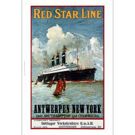 "ANONYMOUS ""Red Star Line"" Transport print NEW choose your SIZE, 55cm to X LARGE"