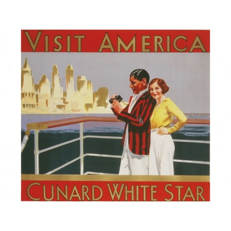 """Visit America, Cunard White Star"" NEW CANVAS of poster various SIZES available"