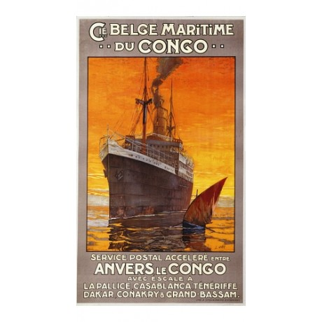 """Cie Belge Maritime Du Congo"" NEW CANVAS of POSTER! various SIZES available"