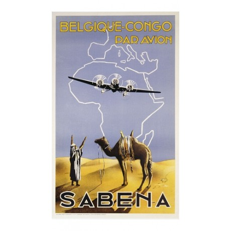 """Sabena, Belgique-Congo"" NEW CANVAS of classic POSTER! various SIZES available"
