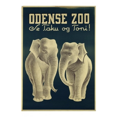 """Odense Zoo"" ELEPHANTS new CANVAS of classic POSTER! various SIZES available"