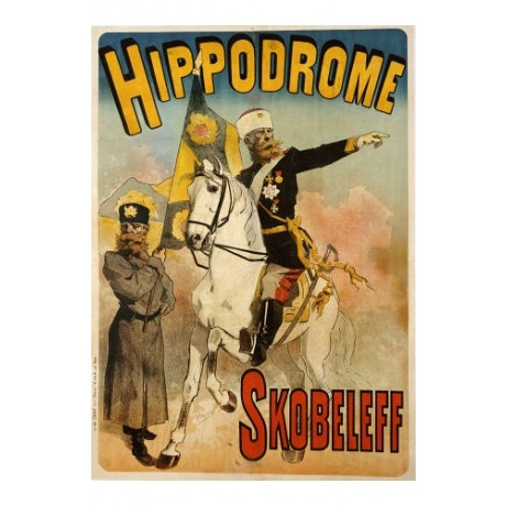 "JULES CHERET ""Hippodrome"" Military print ON CANVAS choose SIZE, from 55cm up"