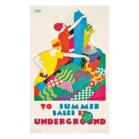 TAYLOR To Summer Sales by Underground women shopping CANVAS of VINTAGE POSTER!