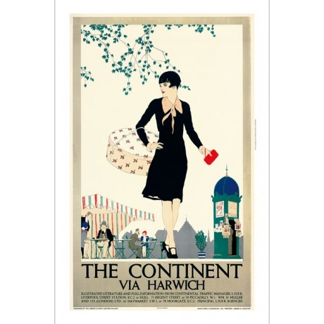 REGINALD HIGGINS Continent Via Harwich art deco CANVAS print of vintage poster