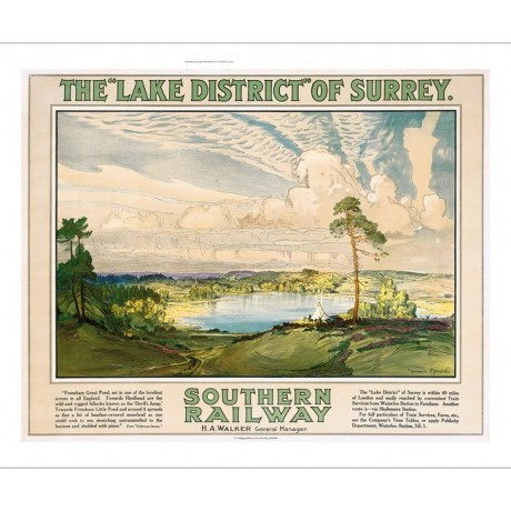 "DONALD MAXWELL ""The 'Lake District' of Surrey"" CANVAS print of vintage poster"