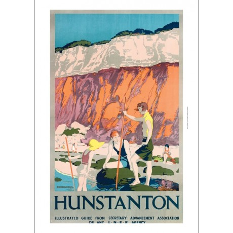 "REGINALD HIGGINS ""Hunstanton"" seaside rockpools CANVAS print of vintage poster"