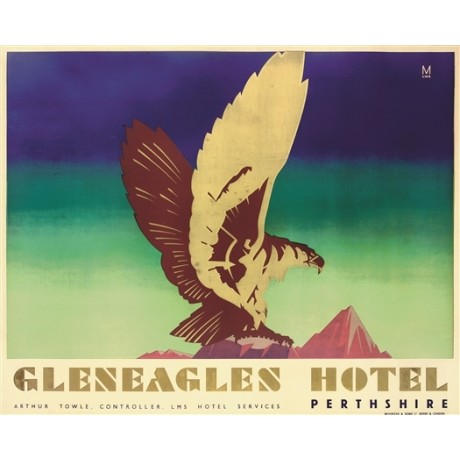 GLENEAGLES Hotel, Perthshire golf scotland CANVAS print of a vintage poster