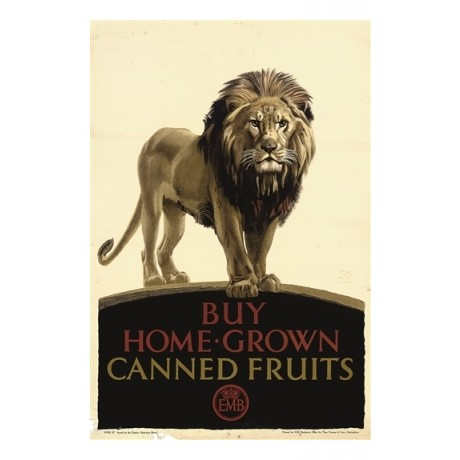 Buy HOME GROWN Canned Fruits lion empire CANVAS print of a vintage poster giclee