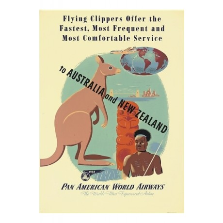 TO AUSTRALIA AND NEW ZEALAND pan american CANVAS print of vintage poster giclee