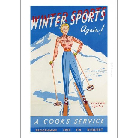 Winter Sports Again! WOMAN skier blue FABULOUS CANVAS print of vintage poster