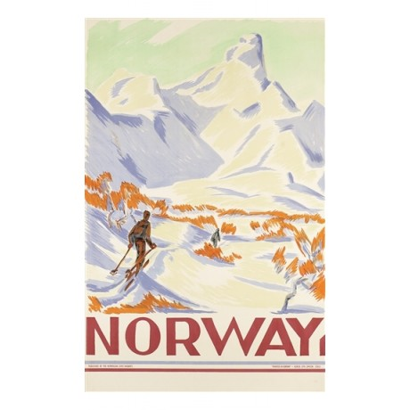 Norway mountain skiers snow ATTRACTIVE CANVAS PRINT of vintage poster BRAND NEW
