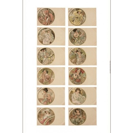 """ALPHONSE MARIE MUCHA """"12 Monthly Postcards"""" women choose SIZE, from 55cm up, NEW"""